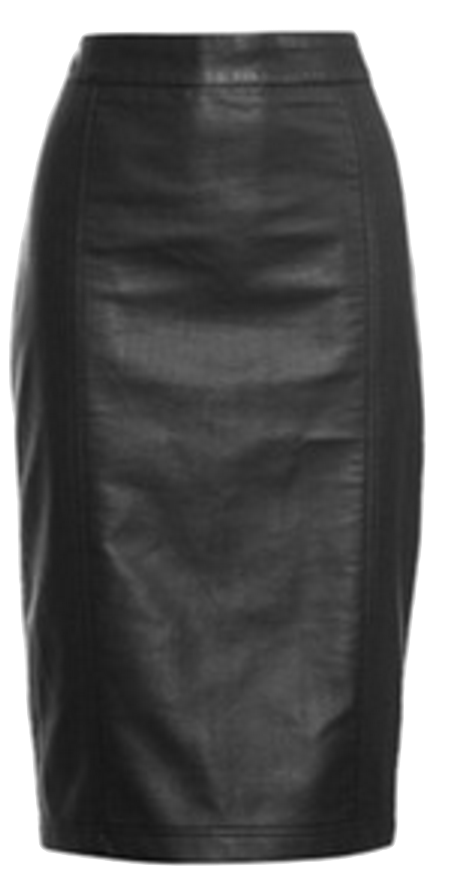 black-leather-midi-pencil-skirt