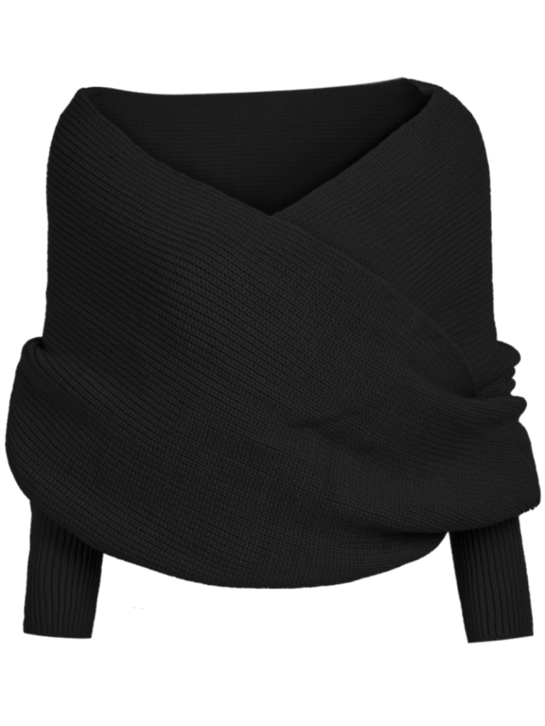 black-off-the-shoulder-knit-sweater