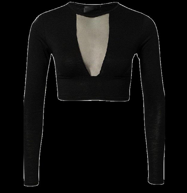 black-plunge-v-mesh-long-sleeve-crop-top