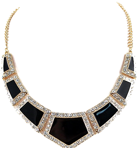 Diamanté Geometric Pattern Statement Necklace