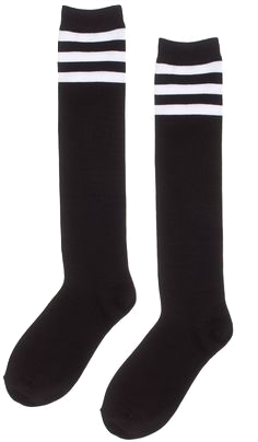 black-socks-with-white-stripes