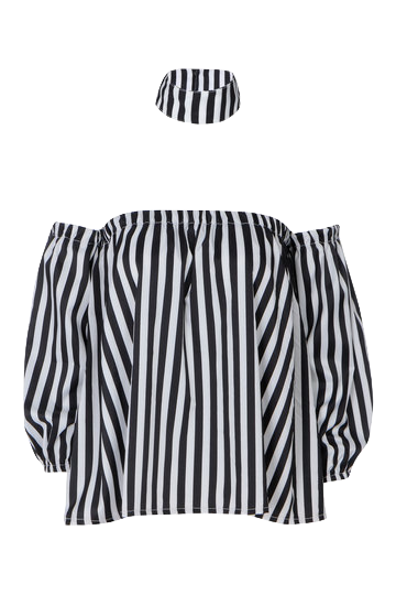 black-and-white-stripes-choker-top-with-puff-sleeves