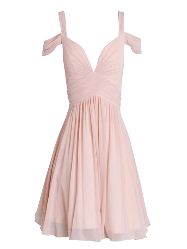 blush-pink-off-shoulder-chiffon-short-dress