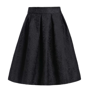 fitted-solid-black-high-waist-skirt