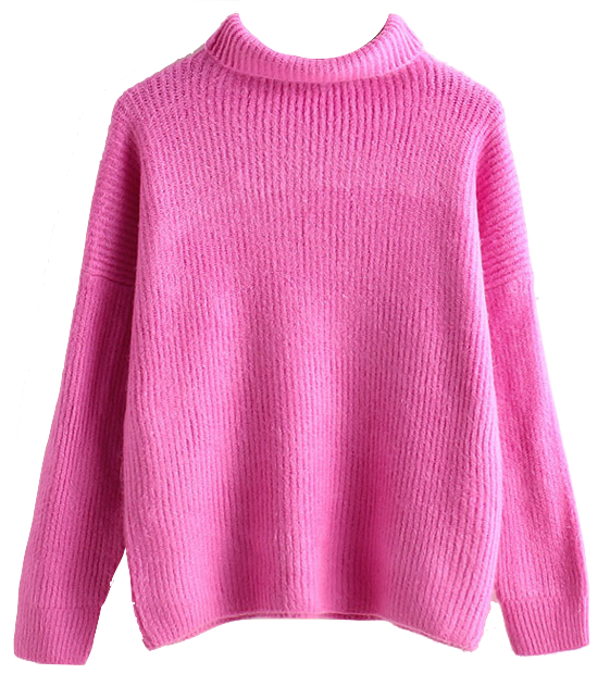 high-neck-solid-color-oversized-knitted-sweater