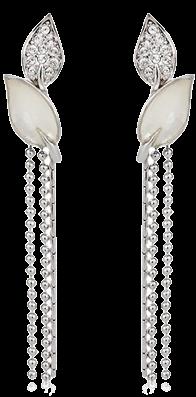 leaf-rhinestone-tassel-earrings