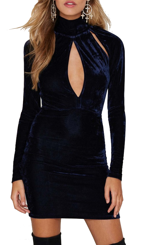 navy-blue-velvet-long-sleev-high-neck-cutout-bodycon-dress