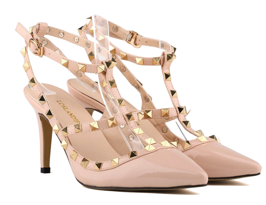 nude-pointed-toe-strappy-high-heels-with-rivets