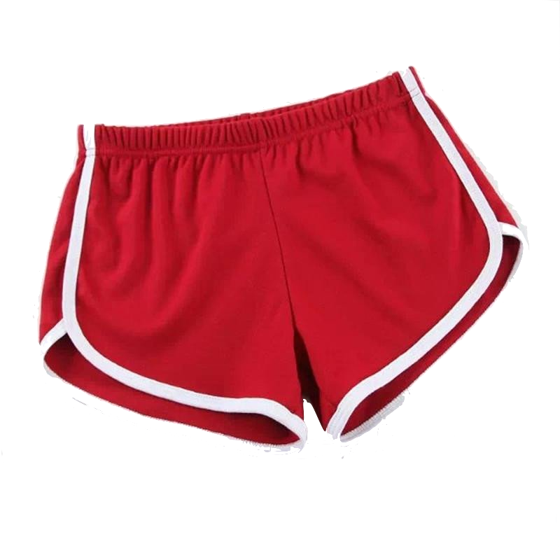 red-elastic-waist-sport-shorts