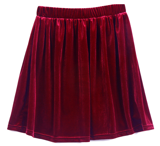 red-velvet-high-waisted-short-a-line-pleated-skirt