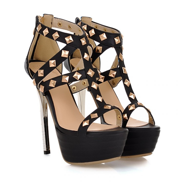 rivet-embellished-black-gladiator-sandals
