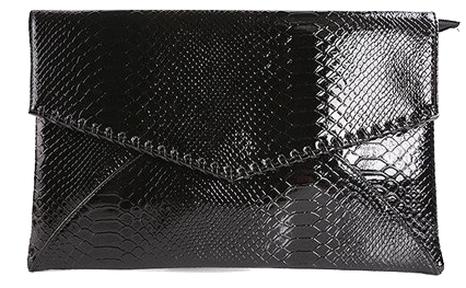 serpentine-synthetic-leather-glossy-envelope-clutch