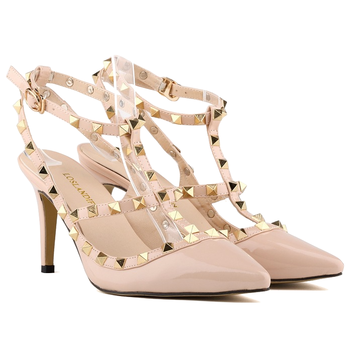 studded-pointed-toe-cross-strap-heels