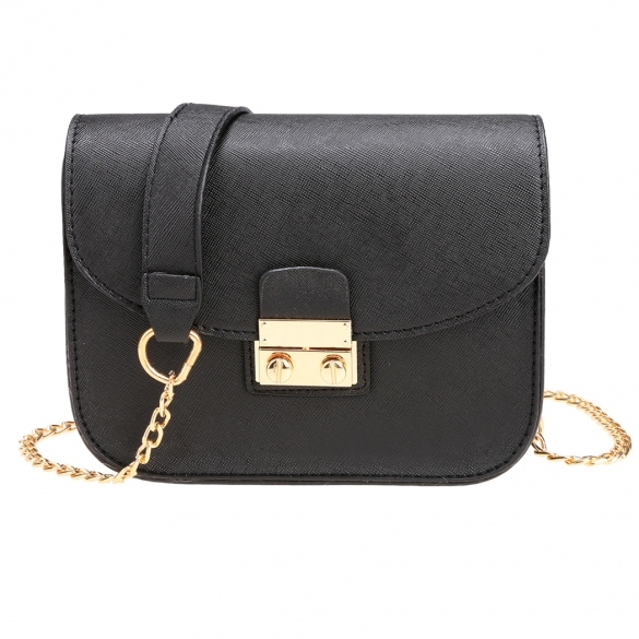 synthetic-leather-chain-crossbody-with-metal-buckle-clasp