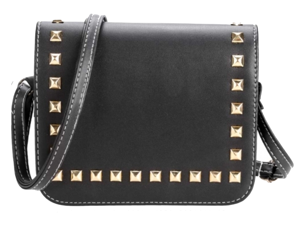 synthetic-leather-rivets-embellished-flap-shoulder-bag