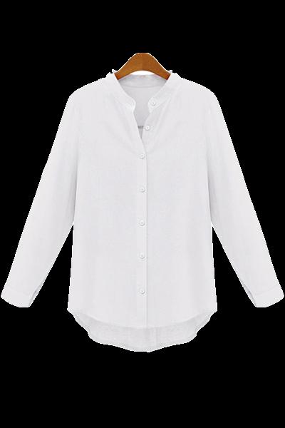 white-collarless-button-down-shirt