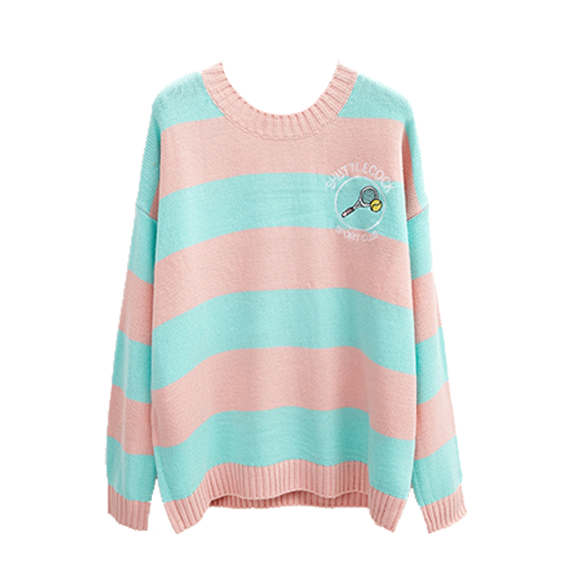 womens-pastel-colored-stripes-sweater-with-embroidered-badminton-racket