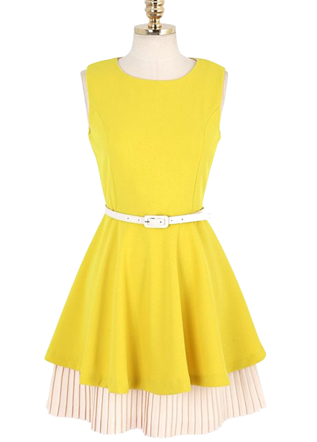 yellow-sleeveless-crew-neck-short-a-line-skater-dress