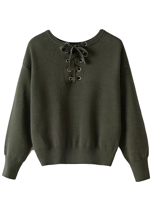 army-green-lace-up-front-sweater