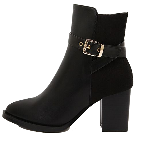 black-buckle-design-chunky-heel-boots