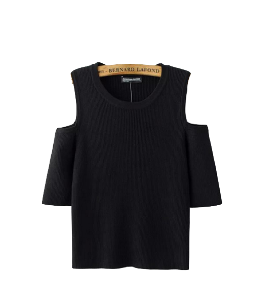 black-cold-shoulder-knitted-fitted-top