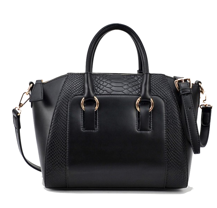 black-embossed-faux-leather-handbag-with-detachable-shoulder-strap