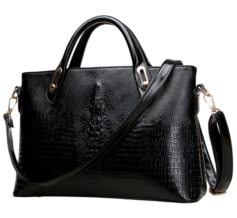 black-embossed-leather-handbag