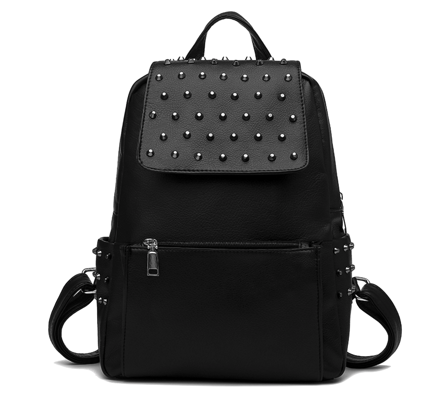 black-leather-backpack-with-rivets