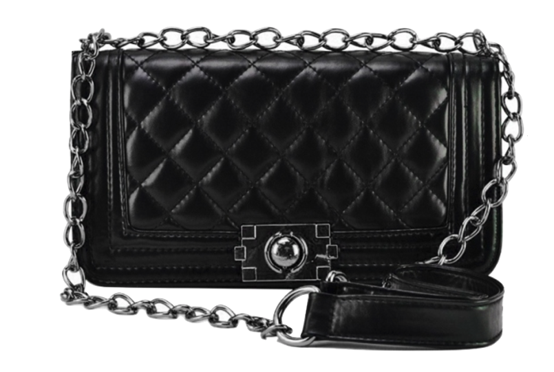 black-leather-chain-crossbody-featuring-quilted-texture