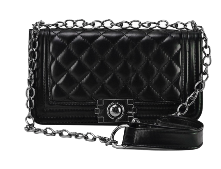 black-leather-chain-crossbody-with-quilted-texture
