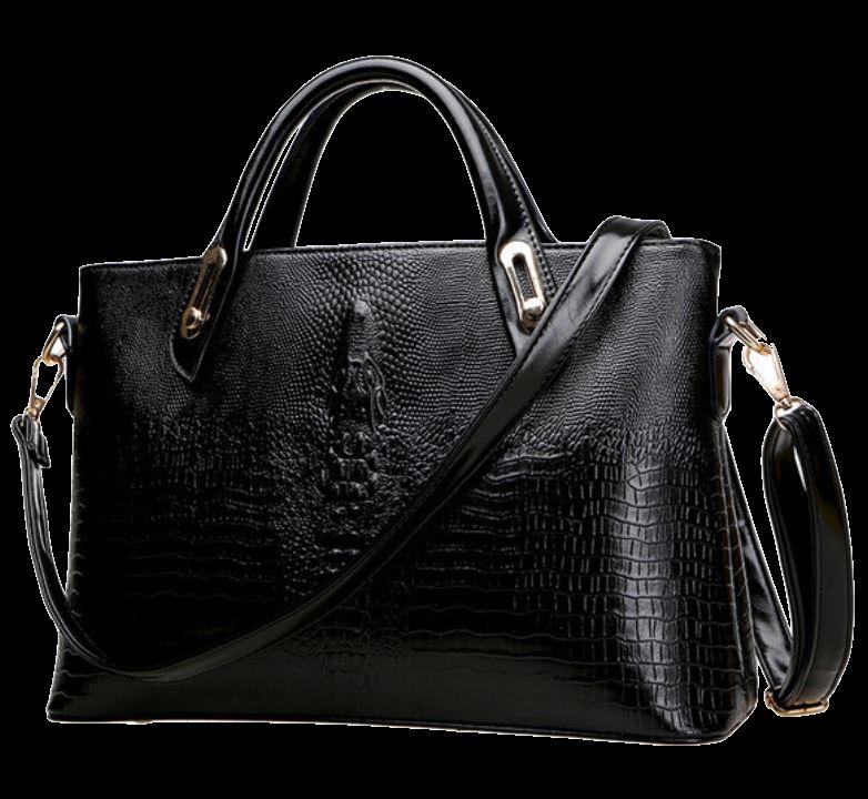 black-leather-handbag-with-alligator-design