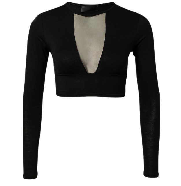 black-long-sleeve-plunge-v-crop-top