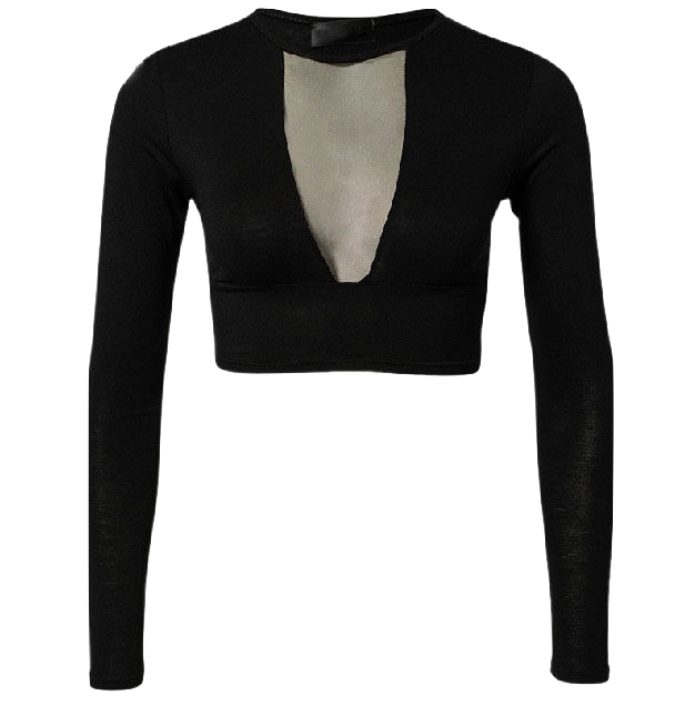 black-long-sleeve-slim-fit-cropped-top-with-mesh-v-neck
