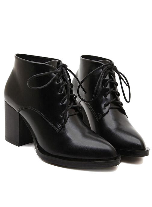 black-pu-pointed-toe-lace-up-ankle-boots