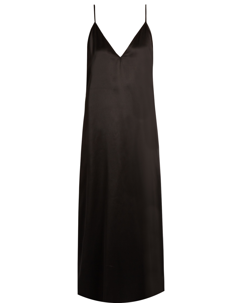 black-plunge-v-long-slip-dress-featuring-high-slit