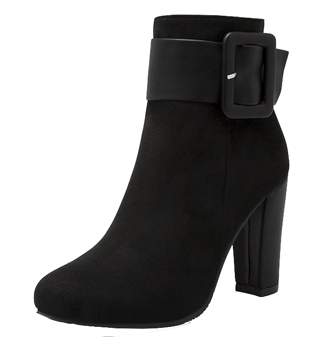 black-suede-thick-high-heel-ankle-boots-featuring-buckle-straps