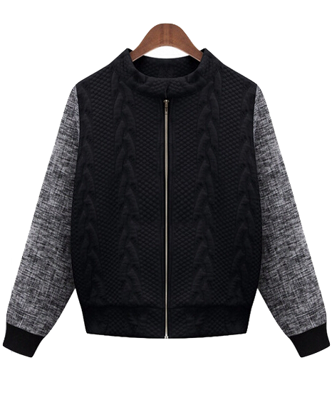 black-and-grey-color-block-baseball-jacket-featuring-front-zipper-detailing