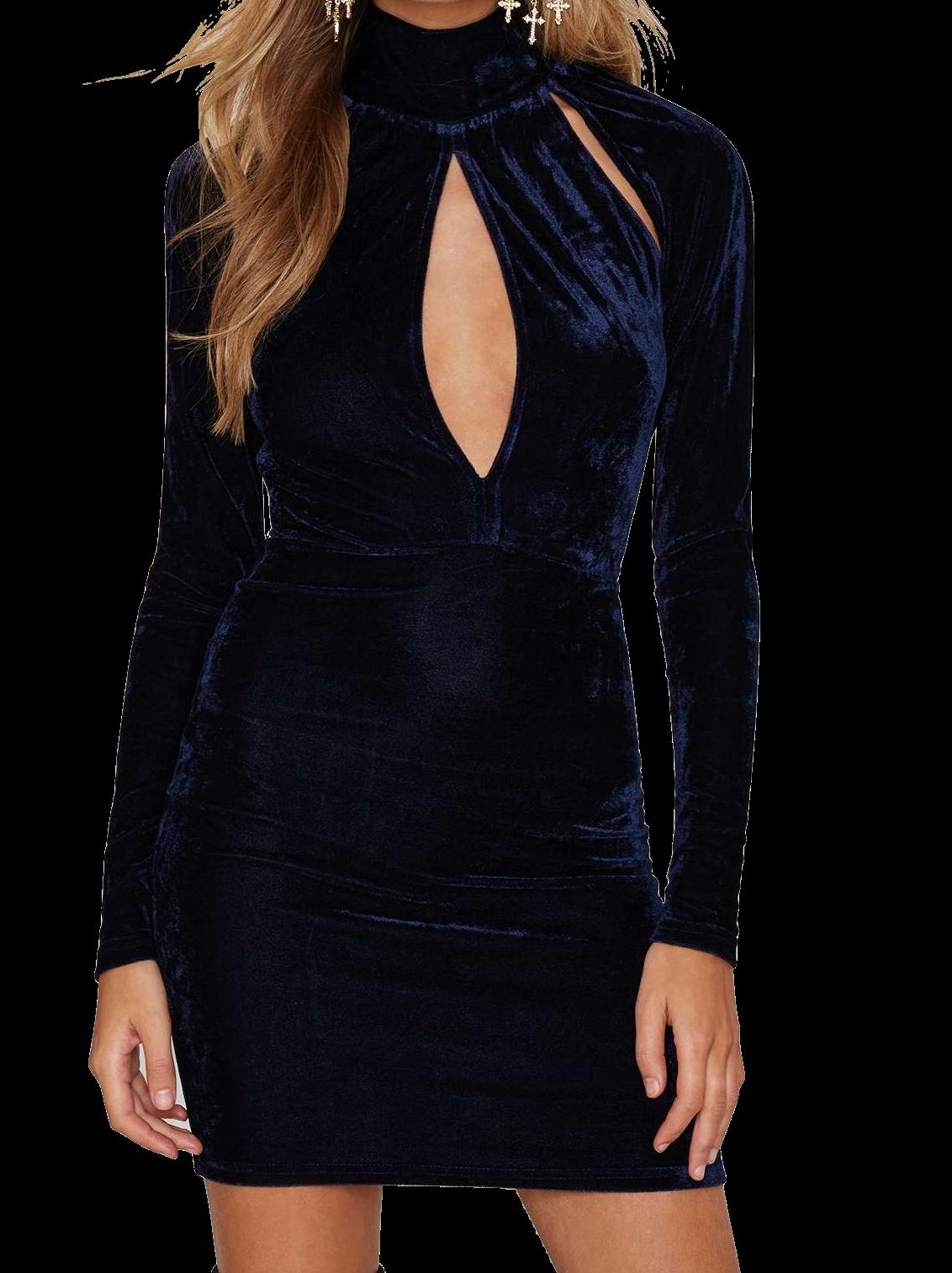 blue-velvet-long-sleeve-high-neck-short-bodycon-dress-featuring-cutout-detailing