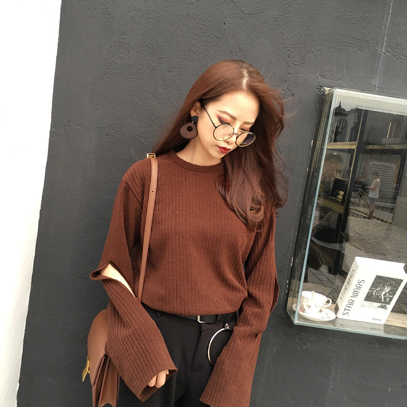 brown-extra-long-sleeve-knitted-sweater-with-cutout-detailing