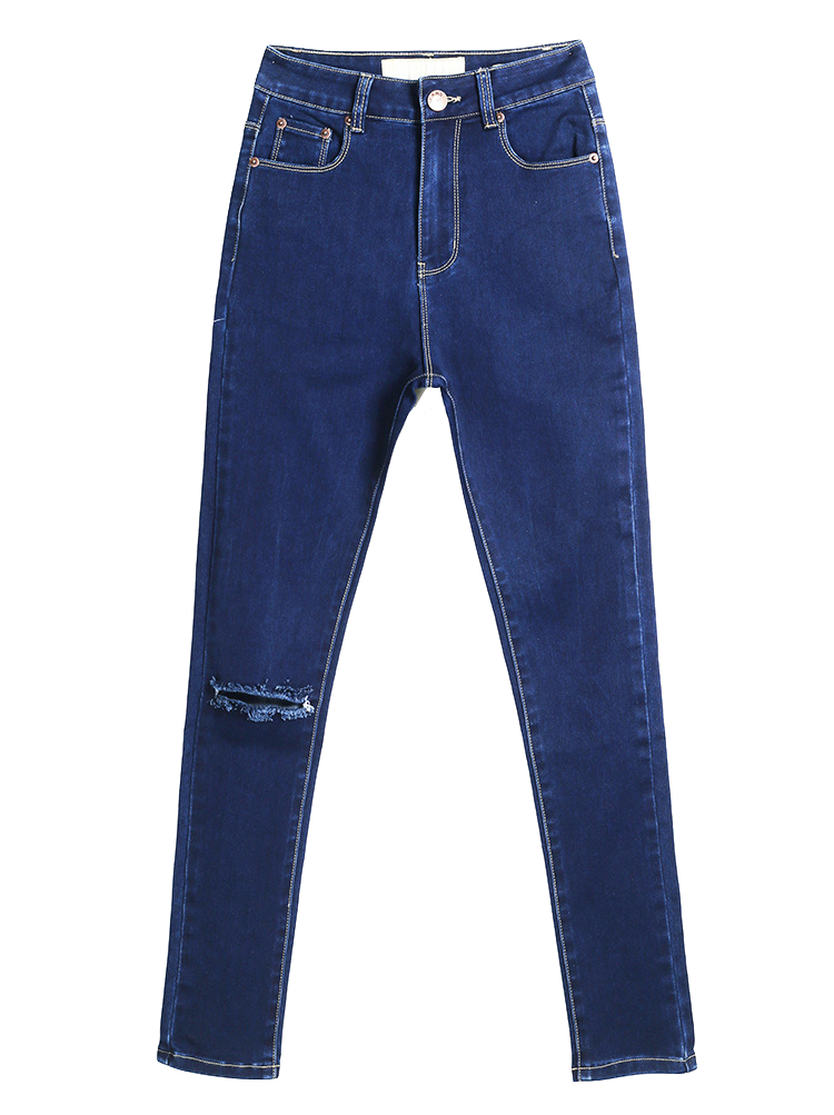 dark-blue-skinny-denim-jeans-with-distressed-knee-hole