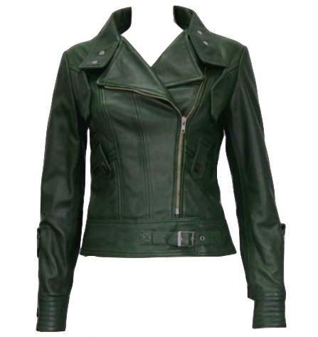dark-green-women-leather-jacket