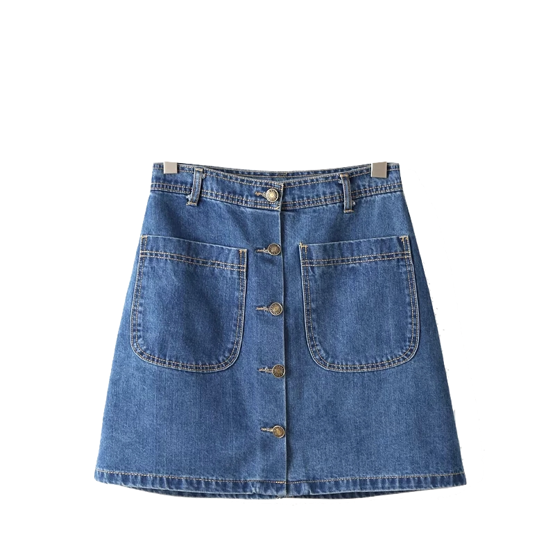 denim-button-down-short-a-line-skirt