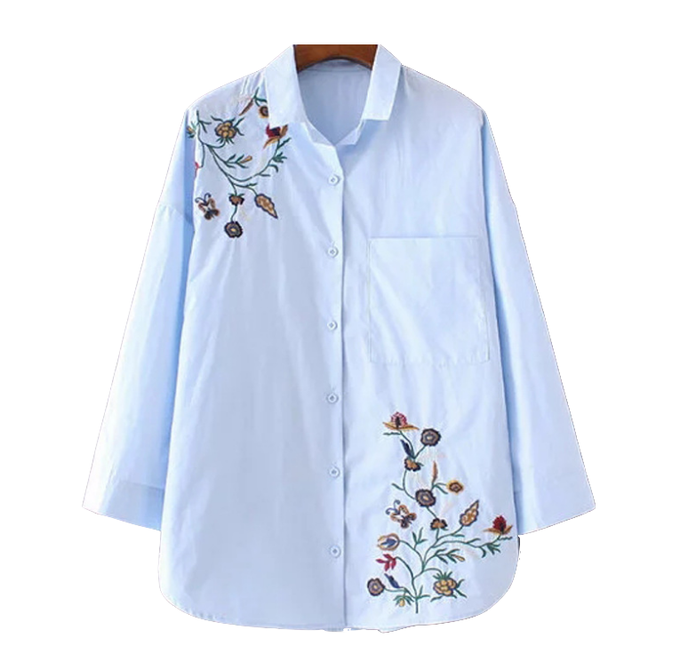 flower-embroidered-blue-button-down-shirt