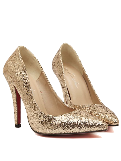 gold-sparkly-pointed-toe-pumps