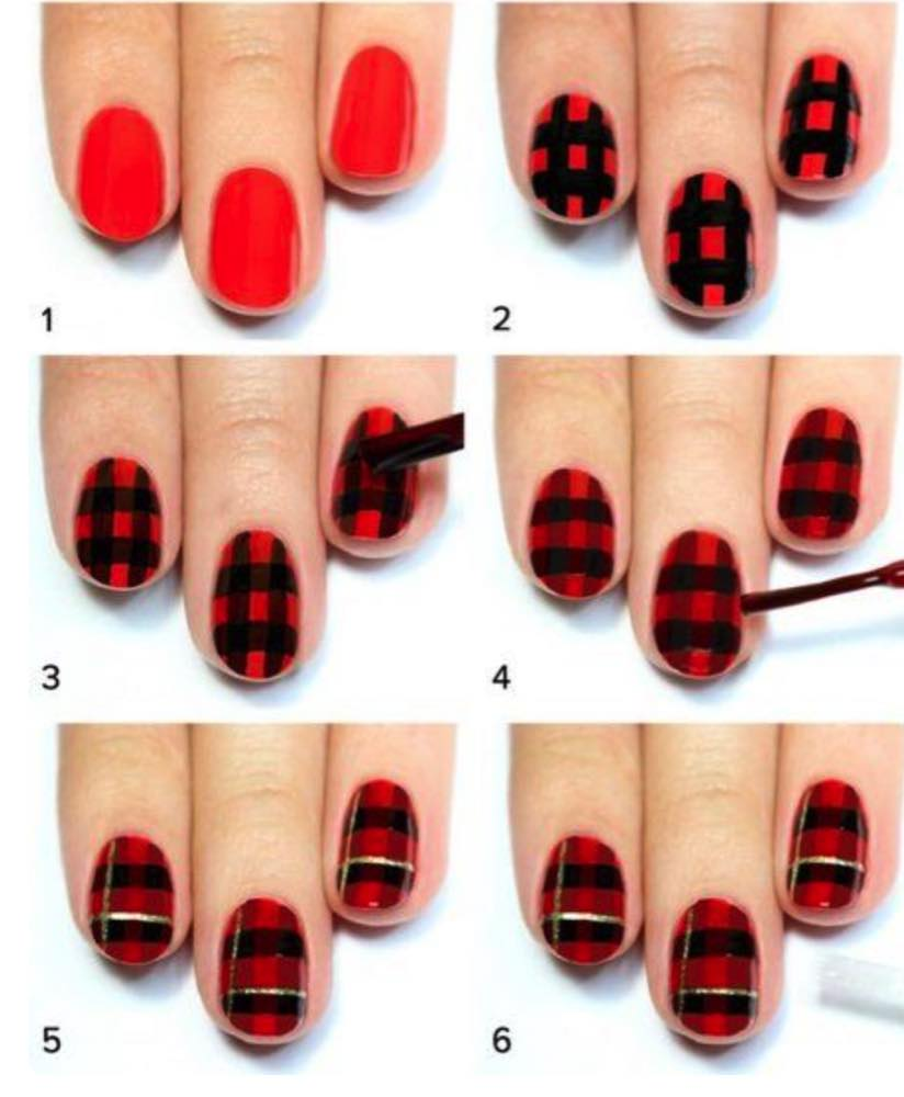 gorgeous-d-i-y-christmas-nail-art-designs-christmas-checkers-nails-instructions