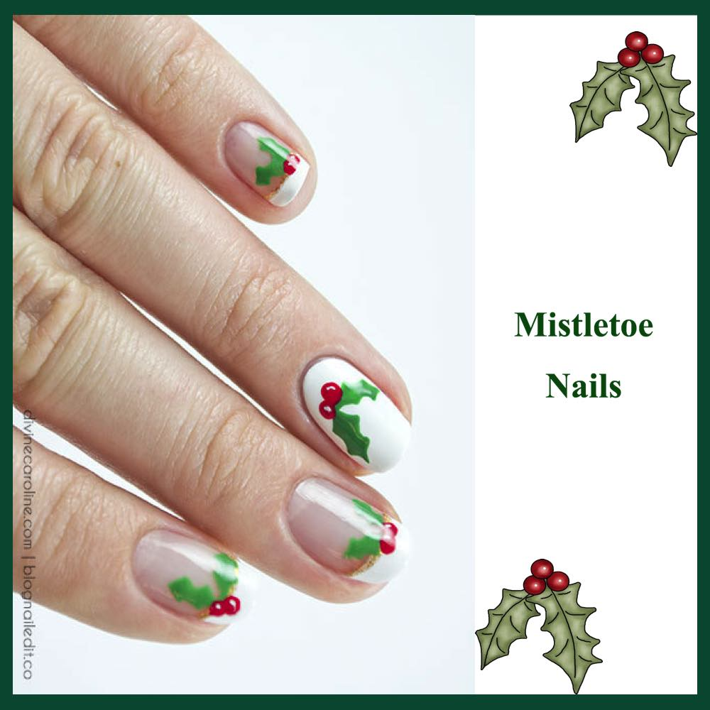 gorgeous-d-i-y-christmas-nail-art-designs-mistletoe-nails