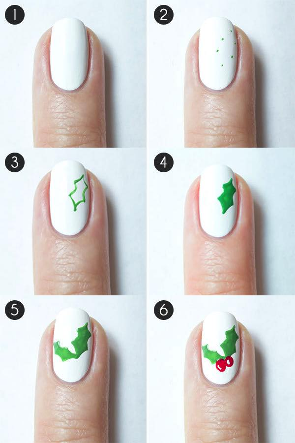 gorgeous-d-i-y-christmas-nail-art-designs-mistletoe-nails-instructions