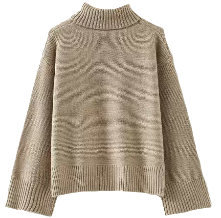 high-neck-batwing-cuff-knitted-loose-sweater