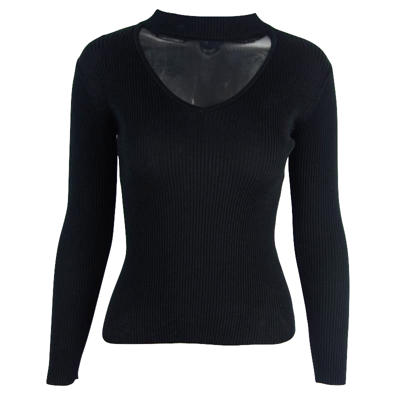 knitted-slim-fit-choker-sweater-with-plunging-neckline
