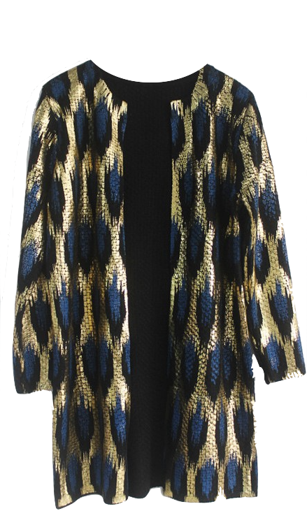 luxury-peacock-printing-knitted-long-cardigan